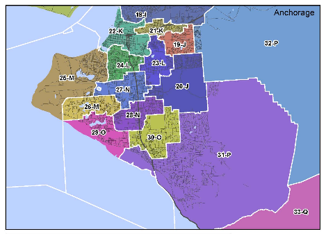 Colored map of legislative districts