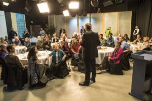 Rick Steves at a VIP event in Alaska Public Media's studios. September 2015.