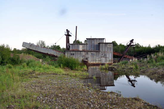A dredge in a river bed