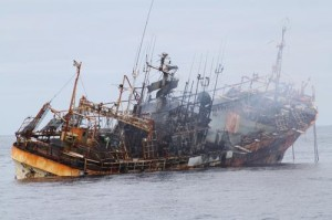 Ryou-un Maru, the derelict fishing vessel sank in 6,000 feet of water. Photo courtesy U.S. Coast Guard.