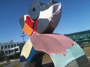 'Yarn Bomb' Covers UAA Statue