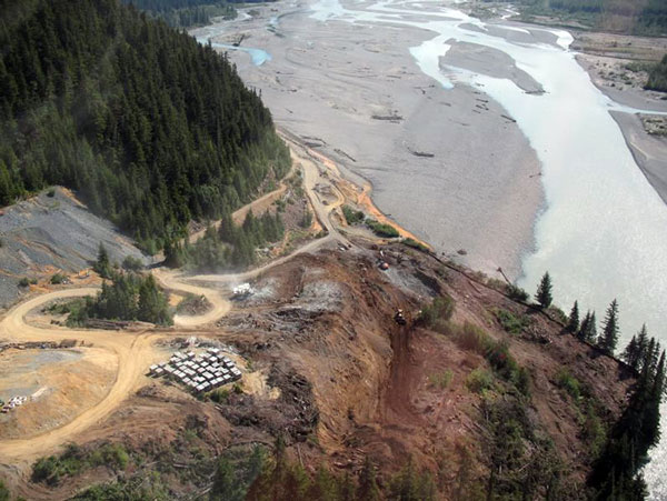 The Tulsequah mine sits above the Tulsequah River which flows into the Taku River.