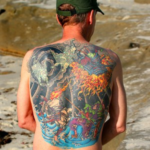 Image of a full back tattoo, called  'Fire and Ice,' 2007 shared under Wikimedia Creative Commons, by Bengt Nyman