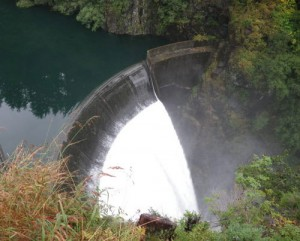 Blue Lake overflows its spillway Monday morning. Photo by Ted Laufenberg.