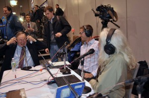 Congressman Don Young (left) sits down with Peter Granitz (center) and Steve Heimel (right) at election central during the 2012 election. APRN file photo.