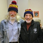Talk of Alaska host Steve Heimel (left) poses with Vic Fischer (right).