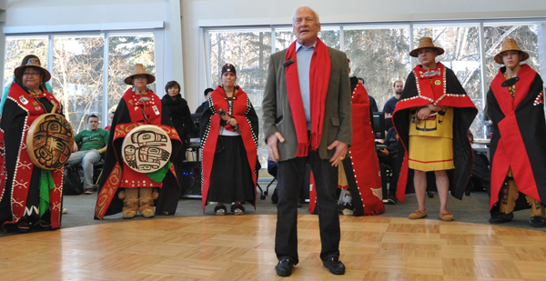 Local Tlingit tribe members provided a warm welcomed to UAA's special guest speaker Buzz Aldrin with singing and dancing. Photo by Alexander S. Duerre