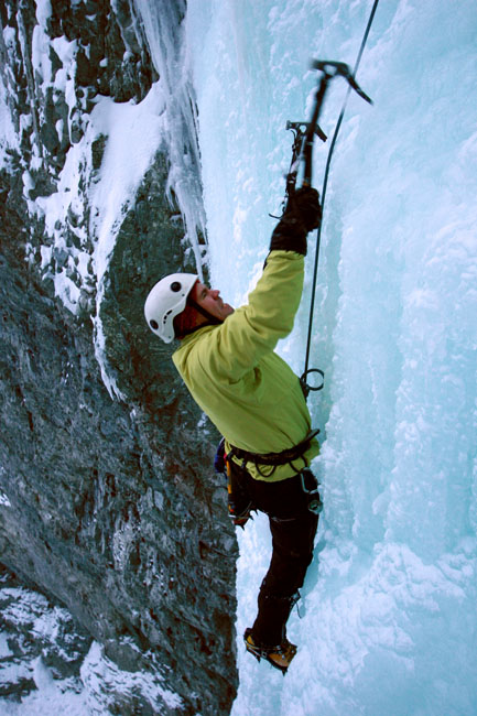 Matt Szundy ice climbing Gravel Creek Pillar. Photo by James Brady.