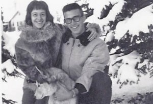 My fiancé, John, and myself and family dog Kobuk just before Christmas 1961 -- the winter following the birth of my son in Seattle.