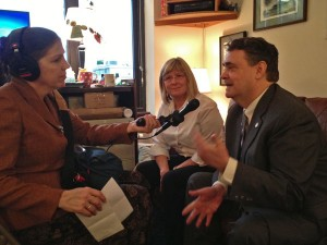 APRN's Lori Townsend (left) interviews minority leaders Beth Kerttula (middle) and Johnny Ellis (right). Photo by Annie Feidt, APRN - Anchorage.