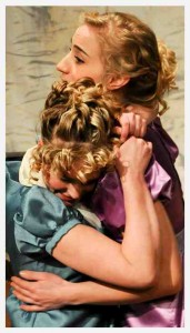 Elinor, played by Kelly Anderson and Marianne, played by Greta Kopperud, embrace each other after receiving bad news. Photo courtesy VPA.
