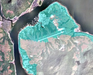The area in blue shows elevation below 100 feet on the north end of Mitkof Island. Areas not colored blue are above 100 feet. Image courtesy of Emil Tucker.
