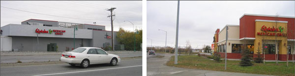 (Left) This Qdoba restaurant is an example that wouldn't be acceptable under the new proposed Title 21. (Right) This building is a good example from the perspective of the rewrite of Anchorage 21. This Qdoba restaurant has windows, entry, and walkway to the street. Photo courtesy of the Municipality of Anchorage