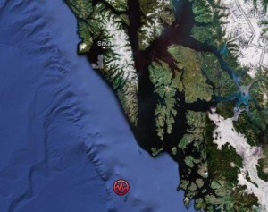 The quake was centered about 100 miles northwest of Dixon Entrance, at a depth of 8.1 miles, according to initial data from the West Coast Alaska Tsunami Warning Center. Officials said there is NO tsunami danger.