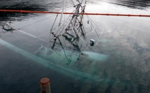 The F/V Kupreanof and F/V Leading Lady had been submerged since Christmas (Coast Guard photo)