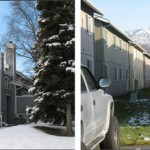(Left) This development has more space between structures and private open spaces that are accessible to their units. (Right) The new open space requirements are trying to improve the quality and dimensions of spaces in between buildings over what is pictured here above. Photos courtesy of the Municipality of Anchorage