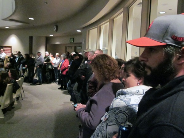 There was standing room only in the Assembly chambers, as hundreds showed up in response to the new ordinance introduced by Anchorage Mayor Dan Sullivan. Photo by Daysha Eaton, KSKA - Anchorage.
