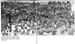 Music Festival Massed Band. Photo from 1958 AHS Yearbook