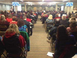 People packed the Anchorage Education Center Monday night to testify against budget cuts. Photo By Daysha Eaton, KSKA