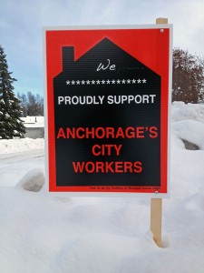 Since the introduction of the ordinance, signs expressing support for unions have popped up in Anchorage