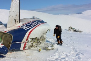 Air Safety Investigator Brice Banning arrives at an accident site near Aleknagik, Alaska. Photo from NTSB.