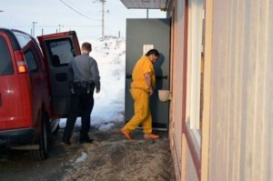 Leroy B. Dick, Jr., entering the Dillingham Courthouse Wednesday morning. Photo by Larry Phares, KDLG - Dillingham.