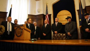 Gov. Sean Parnell signed HB 27 Wednesday with an audience of veterans. Photo courtesy Alaska House Majority