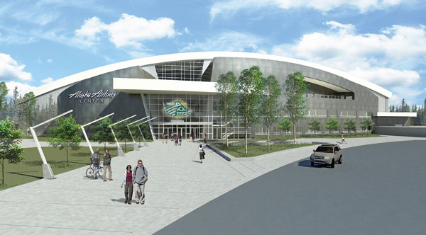 A conceptual image of the Alaska Airlines Center. Image from Alaska Airlines.