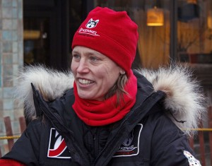 Aliy Zirkle greets fans at the ceremonial start of the 2013 Iditarod in Anchorage. Photo by Josh Edge, APRN - Anchorage.