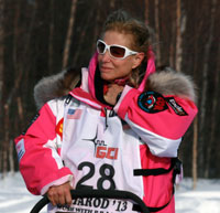 Dee Dee Jonrowe leaves Willow after the official start of the 2013 Iditarod. Photo by Rhonda Edge.