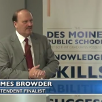 ASD Superintendent Jim Browder is currently interviewing for the superintendent position with the Des Moines Public School District. Screenshot from DMPStv.