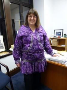 "Click for the full slideshow. Anchorage Representative Harriet Drummond loves the ""big kangaroo pocket"" of her borrowed kuspuk. Photo by Lisa Phu."