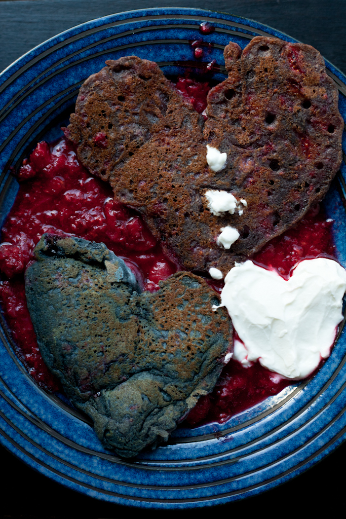 (Belated) Valentine's Day breakfast:  Alaskan black currant pancakes,   strawberry & Alaskan raspberry pancakes,  and plain yogurt over raspberry-strawberry sauce.  As lopsided and imperfect as we are. :)