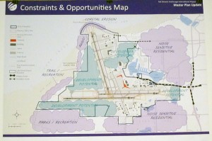 Map of some areas of concern regarding Ted Stevens International Airport master plan update.  A series of public meetings is gauging residents concerns about possible expansion of the airport in current years. Photo by Ellen Lockyer, KSKA - Anchorage.