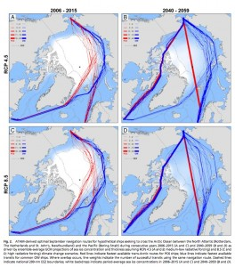 Red lines indicate the fastest possible routes for light icebreakers, blue lines show the fastest possible routes for open water vessels. Images courtesy of Laurence Smith.