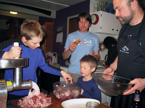 Making caribou sausage is a family affair at Marc Wheeler's house. Photo by Amanda Compton.