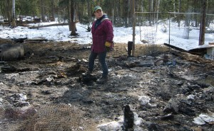 Brandy McLean walks through the rubble where the barn that burned down last week once stood, as one of the Large Black Hogs she's raising lounges nearby, left. Photo by Tim Ellis, KUAC - Fairbanks