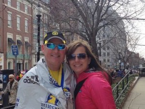 Brent and Karin Cunningham pose for a picture after the finish of the Boston Marathon today (Monday, April 15). Brent finished the race about a half-hour before explosions that killed two and injured scores of others.