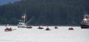Canoes in Kake – Photo courtesy of Arlene Buxton and the One People Canoe Society Facebook page.