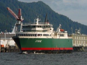 The Inter-Island Ferry Authority ship Stikine sails through Ketchikan's Tongass Narrows. Photo by Ed Schoenfeld, CoastAlaska News.