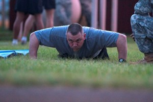Sgt. Daniel S. Alsdorf, completed 72 pushups for the Army Physical Fitness Test, May 18. Photo by Army Spc. David W. Harthcock.