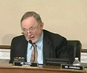 Alaska Rep. Don Young oversees a Thursday House Committee on Indian and Alaska Native Affairs hearing on Sealaska land-selection legislation. Image courtesy the committee.