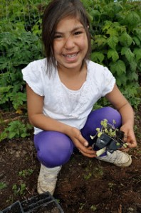 Helping plant a garden during a Day Camp session in Angoon.