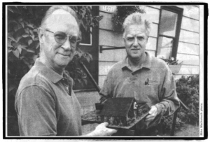 Mike and Jeff with model of The Bird House.