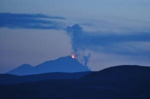 Pavlof Volcano Erupting on May 14, 2013 -- Credit: Gina Stafford