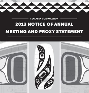 The cover page of Sealaska's proxy statement and annual meeting notice. Fourteen candidates are running for for board of directors seats.
