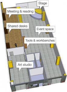 The proposed floor plan for the space.
