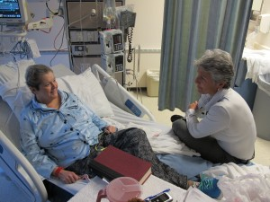 Patient Dawn Dillard talks with palliative Dr. Linda Smith at Providence Hospital in Anchorage. Photo by Annie Feidt, APRN - Anchorage