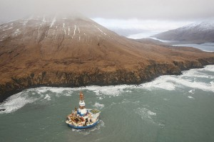 The Kulluk remains grounded and upright with no evidence of sheen in the vicinity on Friday, Jan. 4. The rig grounded in high seas and strong winds Dec. 31, 2012, and a full-scale response and recovery involving the U. S. Coast Guard, Shell, the State of Alaska, local governments and private contractors has been underway since then. Photo by Judy Patrick
