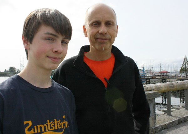 David Wilcox, 14, and his father, Brett, are running across the United States next year. The pair hopes to raise awareness about genetically modified foods, which they say are a danger to the global food supply. (KCAW photo by Ed Ronco)